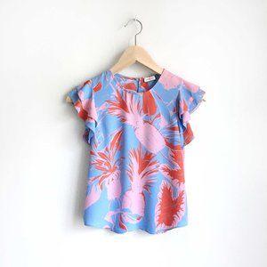 Sunday Best tropical flutter sleeve top - size xxs